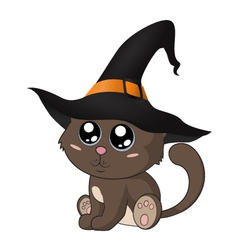 Adorable kitty in a witch hat vector
