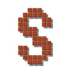 Letter s made from realistic stone tiles vector