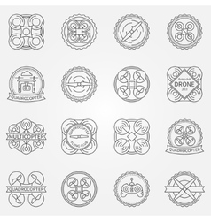 Drone labels or badges vector