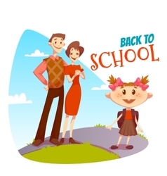 Back to school poster schoolgirl going in college vector