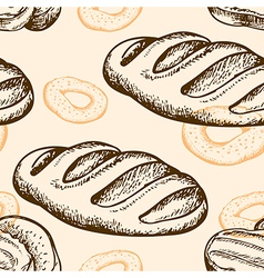 Seamless pattern with bagel and baguette vector