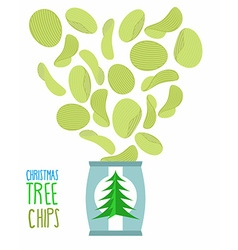 Potato chips taste of christmas trees special vector