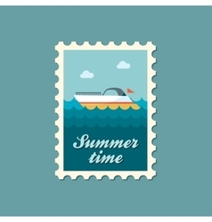 Ship boat flat stamp summertime vector
