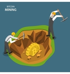 Bitcoin mining isometric flat concept vector