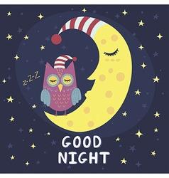 Good night card with sleeping moon and cute owl vector image