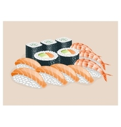 Sushi set with shrimp salmon avocado vector