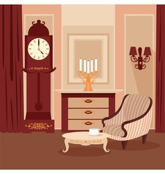 Living room classic interior vintage style vector