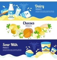 Milk and cheese horizontal banners vector