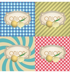 Four types of retro textured labels for onion vector