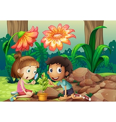 A girl and a boy looking at the plant with a vector image