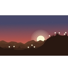 Beauty landscape spring at night vector