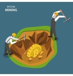 Bitcoin mining isometric flat concept vector