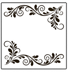 black and white border frame with floral patterns vector image vector image