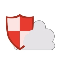 cloud with shield icon vector image vector image