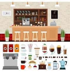 Coffee set with shop interior vector image