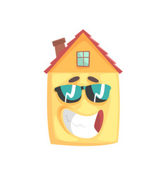 cute house cartoon character with smiling face and vector image vector image