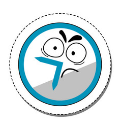 Dissatisfied cartoon clock sticker vector