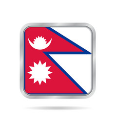 flag of nepal shiny metallic gray square button vector image vector image