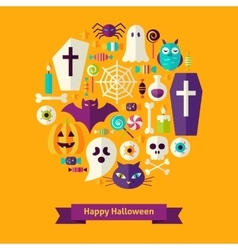 Flat happy halloween concept vector