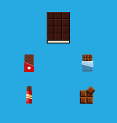 Flat icon bitter set of bitter cocoa dessert and vector