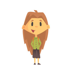 Girl with long brown hair smiling primary school vector