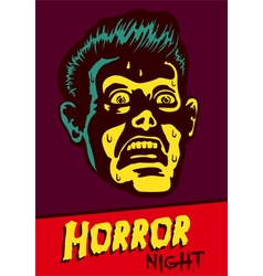 Halloween party horror movie night flyer design vector