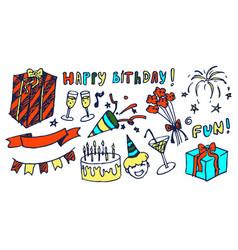 happy birthday and fun set vector image