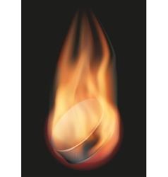 Ice hockey ball with flame vector image