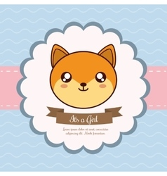 Kawaii fox baby shower design graphic vector