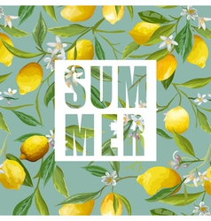 Lemon flowers and leaves background exotic graphic vector