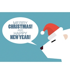 Merry christmas and Happy new year with white bear vector image vector image