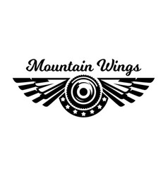 Monochrome logo wheel and wings mountain biking vector
