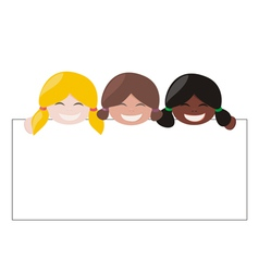 Mulicultural girls holding white empty banner vector image vector image