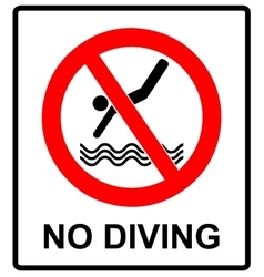 No diving sign prohibition symbol in red vector image vector image