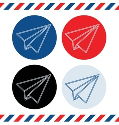 Paper plane icons on white background vector image