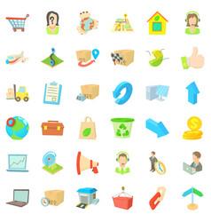 Parcel icons set cartoon style vector