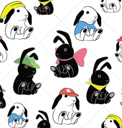 rabbit seamless pattern b vector image vector image