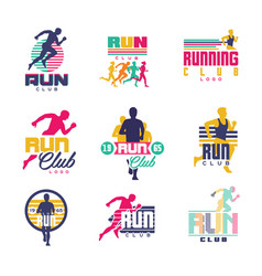 running club logo templates set emblems for sport vector image vector image