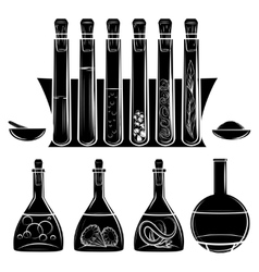 Science lab equipment black silhouettes vector image vector image