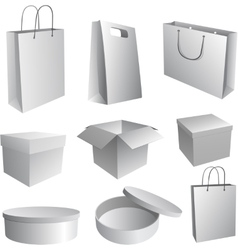 Set of paper bags and boxes for branding vector image