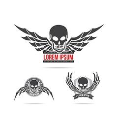 Skeleton skull with wing logo emblem element 001 vector