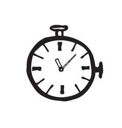 stopwatch doodle line black icon isolated on vector image vector image