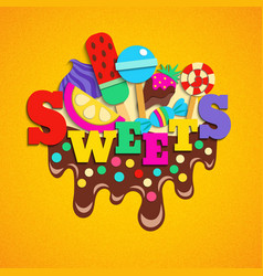 Sweets fastfood trendy colorful composition vector