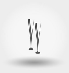 two glasses of wine or champagne vector image
