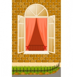 window and curtains vector image