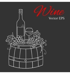 Wine bottle glass and grapes on wooden barrel vector