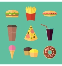 Fast food colorful flat design icons set vector image