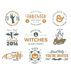 Halloween 2016 party labels templates with scary vector