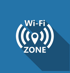 Wi-fi network flat icon with long shadow vector