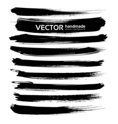 Abstract black ink brush long strokes set isolated vector